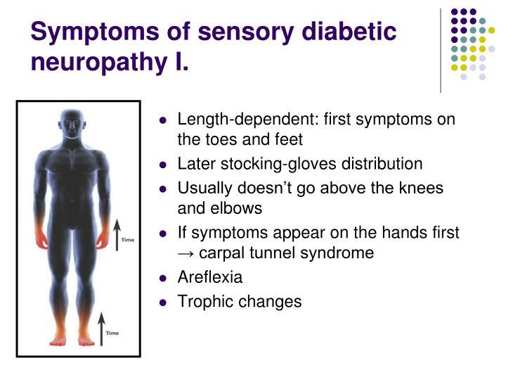 Symptoms of sensory diabetic  neuropathy I.