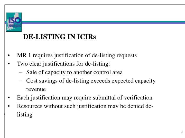 DE-LISTING IN ICIRs