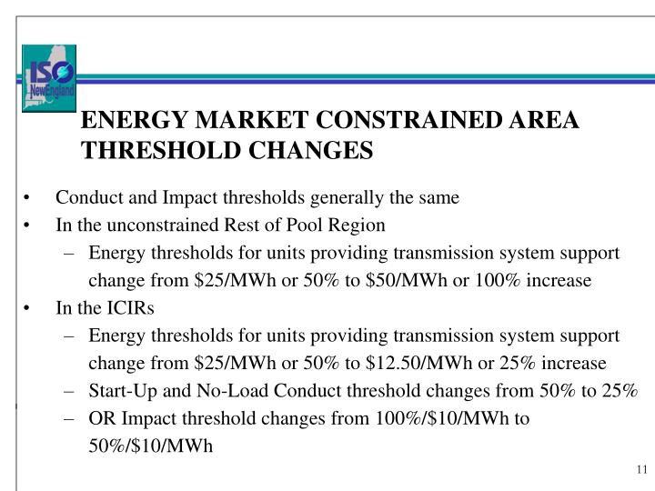 ENERGY MARKET CONSTRAINED AREA THRESHOLD CHANGES