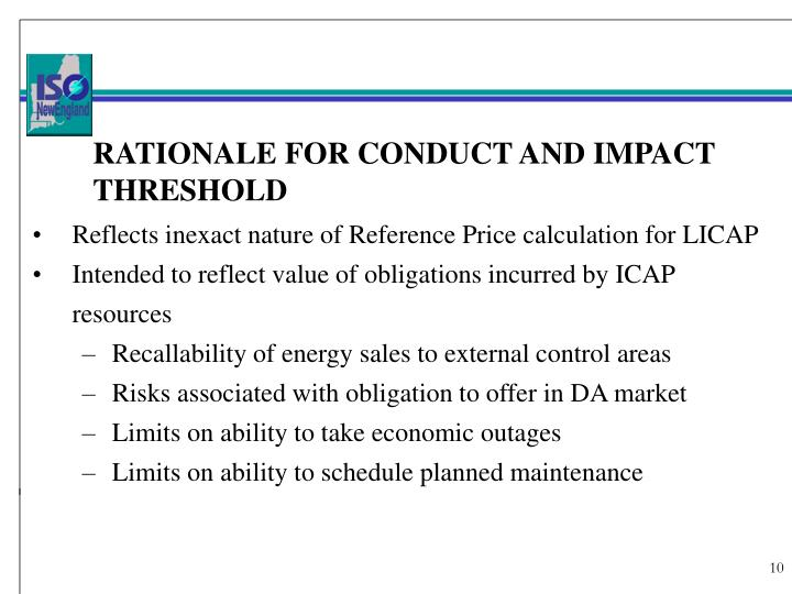 RATIONALE FOR CONDUCT AND IMPACT THRESHOLD