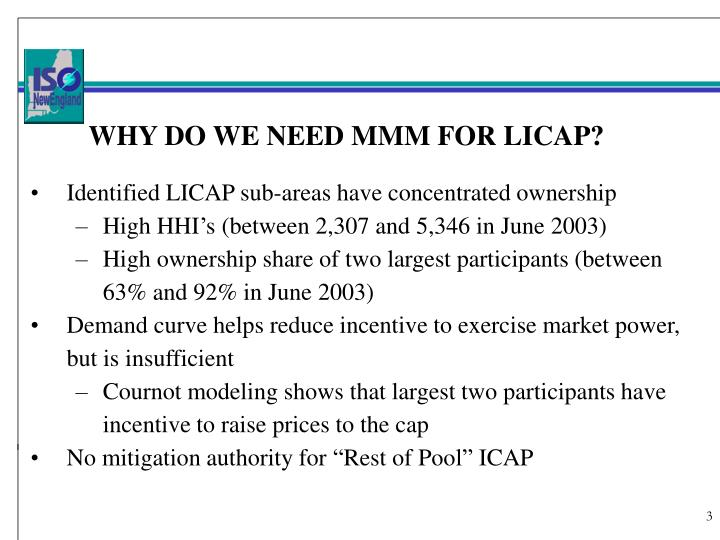 WHY DO WE NEED MMM FOR LICAP?