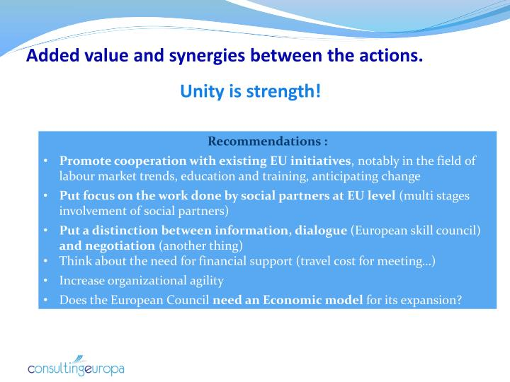 Added value and synergies between the actions.