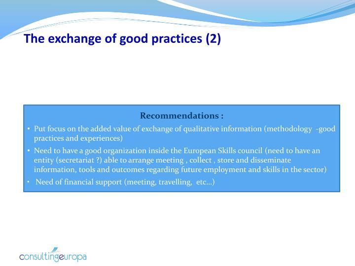 The exchange of good practices (2)