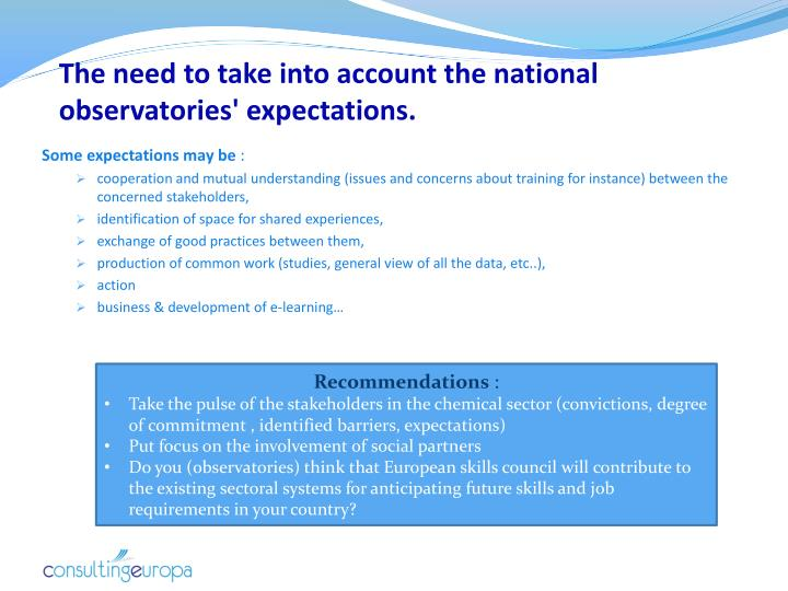 The need to take into account the national observatories' expectations.