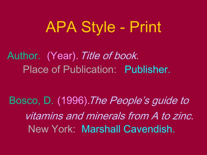 APA Style - Print