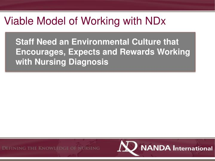 Viable Model of Working with NDx