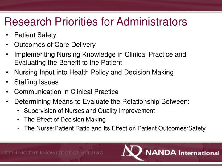 Research Priorities for Administrators