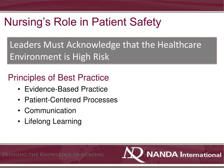Nursing's Role in Patient Safety
