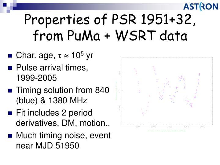 Properties of PSR 1951+32, from PuMa + WSRT data