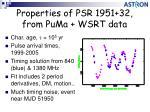 properties of psr 1951 32 from puma wsrt data