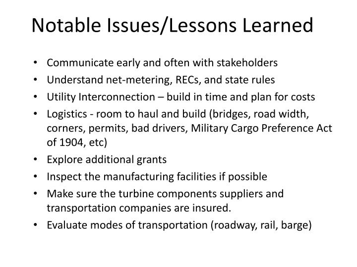 Notable Issues/Lessons Learned