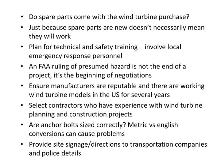 Do spare parts come with the wind turbine purchase?