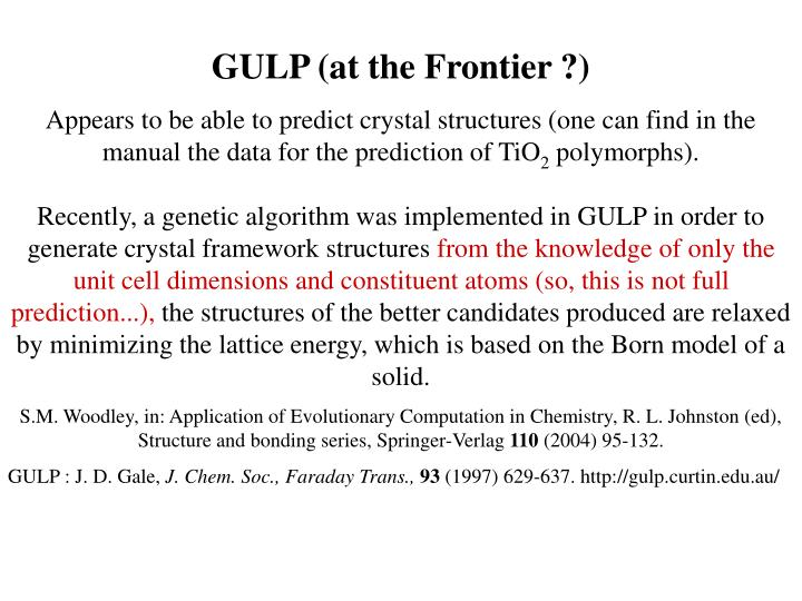 GULP (at the Frontier ?)