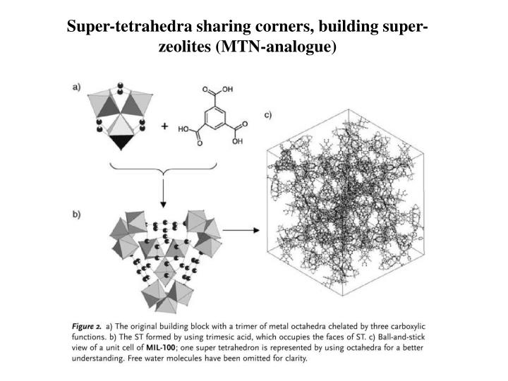 Super-tetrahedra sharing corners, building super-zeolites (MTN-analogue)