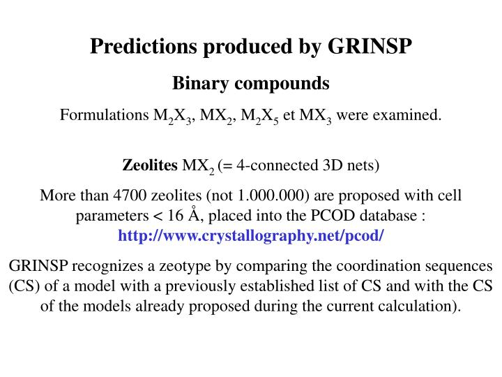 Predictions produced by GRINSP