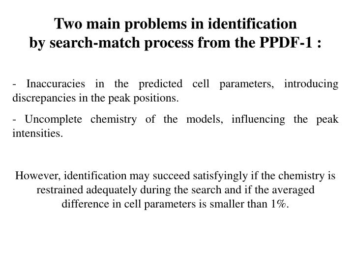 Two main problems in identification
