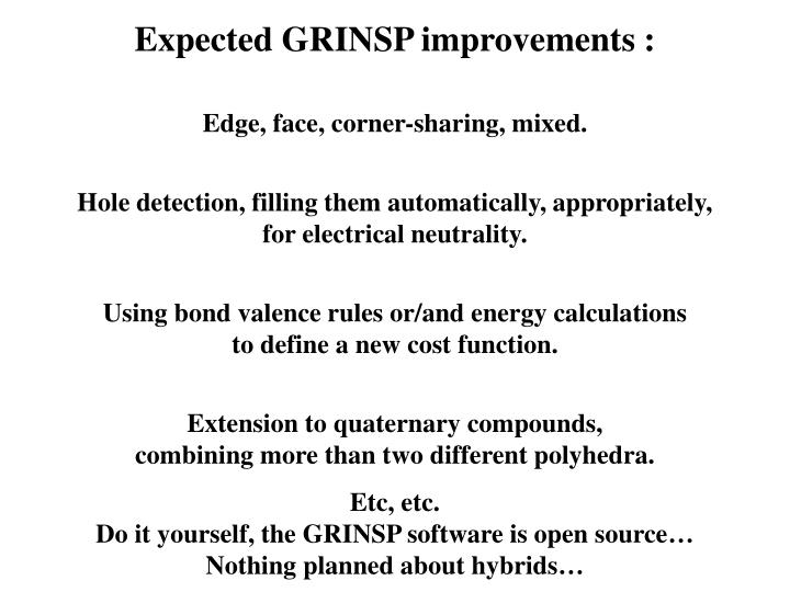 Expected GRINSP improvements :