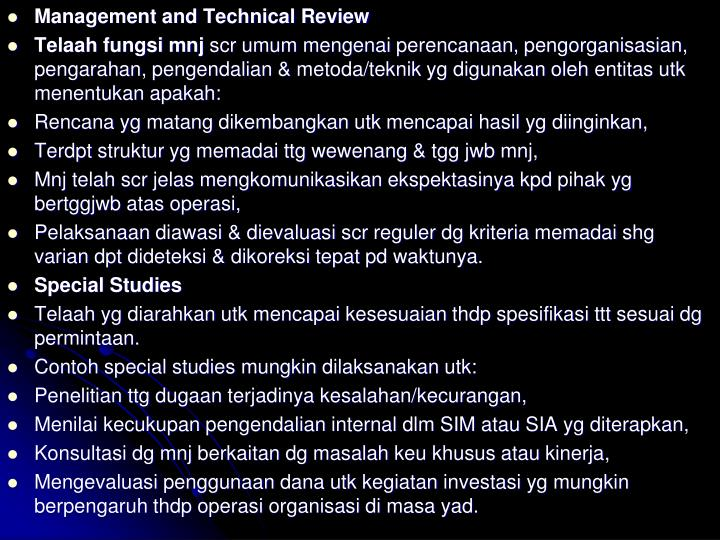 Management and Technical Review