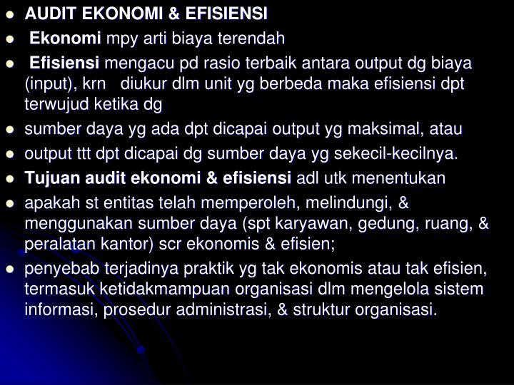 AUDIT EKONOMI & EFISIENSI