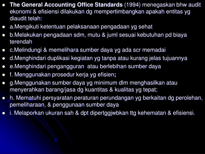 The General Accounting Office Standards