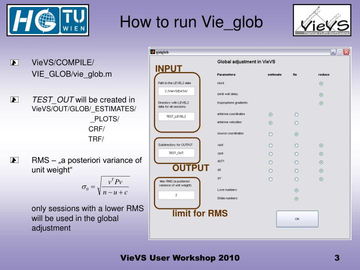 How to run Vie_glob