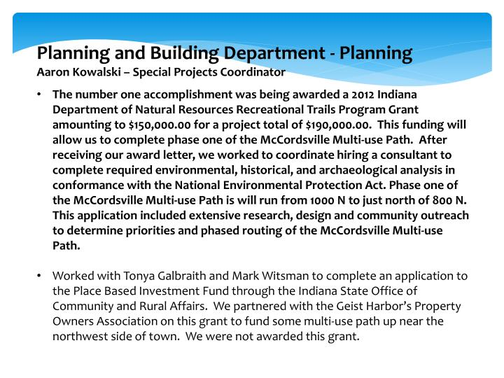 Planning and Building Department - Planning