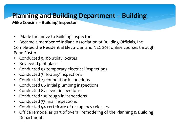 Planning and Building Department – Building
