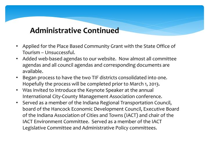 Administrative Continued