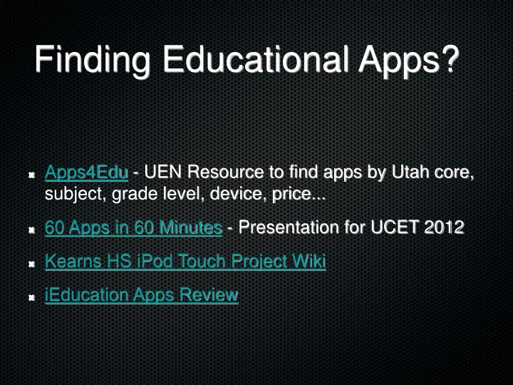 Finding Educational Apps?