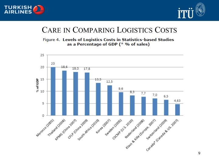 Care in Comparing Logistics Costs