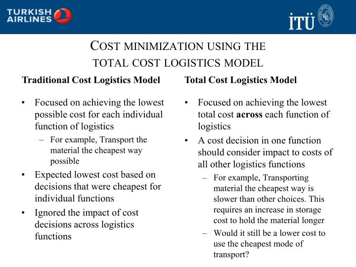 Cost minimization using the