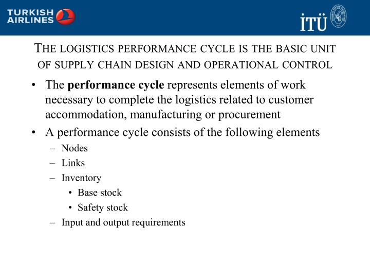 The logistics performance cycle is the basic unit of supply chain design and operational control
