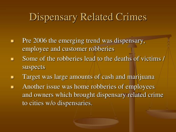 Dispensary Related Crimes
