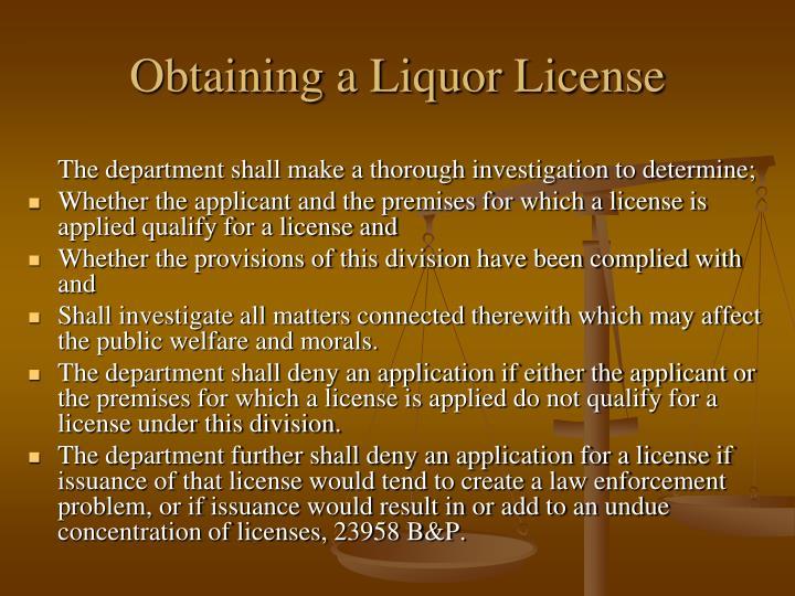 Obtaining a Liquor License