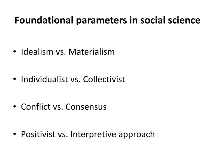 Foundational parameters in social science