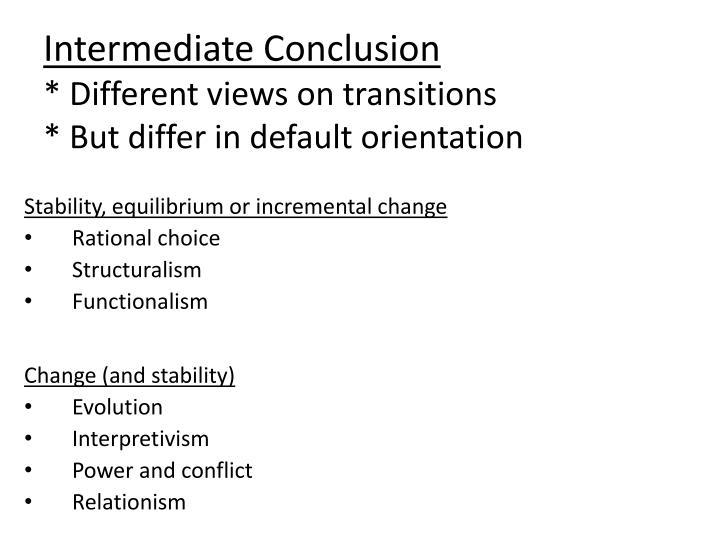 Intermediate Conclusion