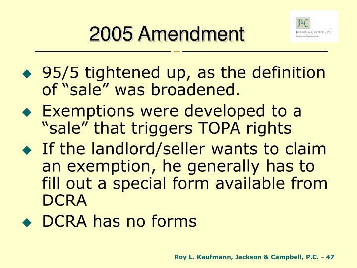 2005 Amendment
