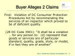buyer alleges 2 claims