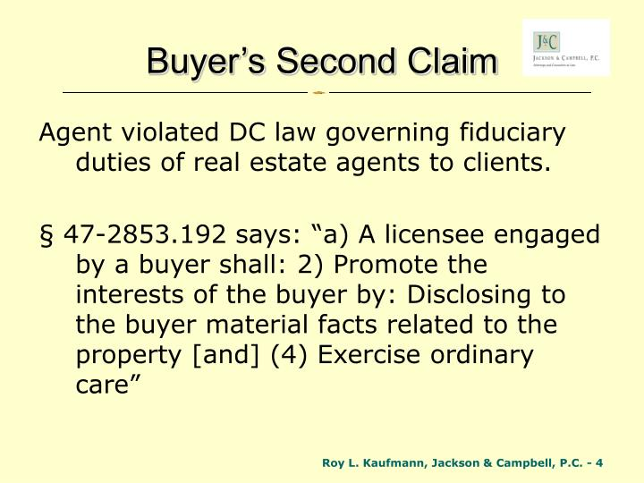 Buyer's Second Claim