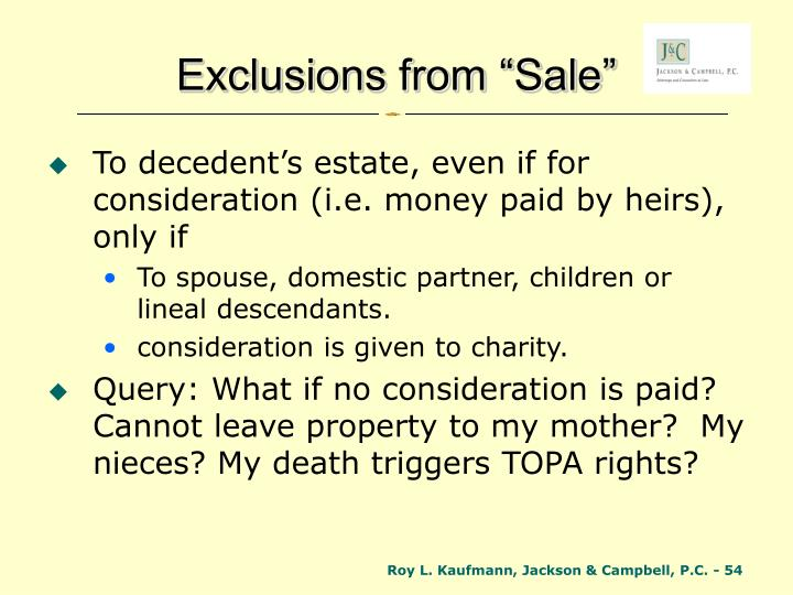 "Exclusions from ""Sale"""