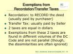 exemptions from recordation transfer taxes