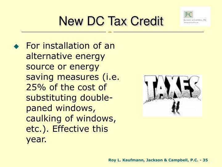 New DC Tax Credit