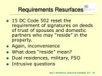requirements resurfaces