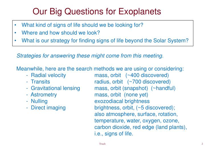 Our Big Questions for Exoplanets