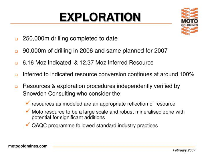 250,000m drilling completed to date