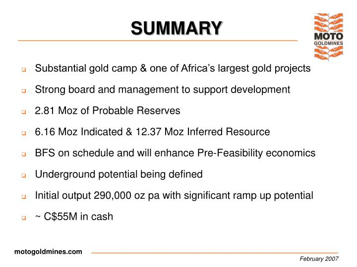 Substantial gold camp & one of Africa's largest gold projects