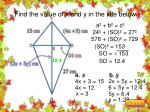 find the value of x and y in the kite below