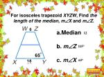 for isosceles trapezoid xyzw find the length of the median m x and m z