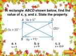 in rectangle abcd shown below find the value of x y and z state the property