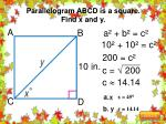parallelogram abcd is a square find x and y